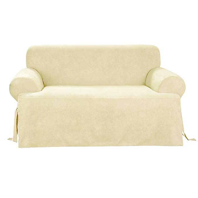 Sure Fit Soft Suede T Cushion Loveseat Slipcover Cream Sf38642 Review Cushions On Sofa Loveseat Slipcovers Slipcovers
