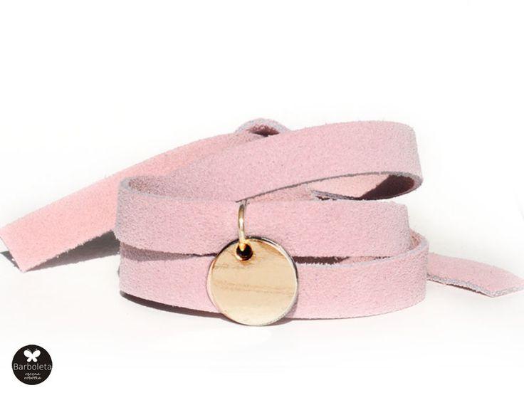 bracelet suede,barboleta,pink,gold
