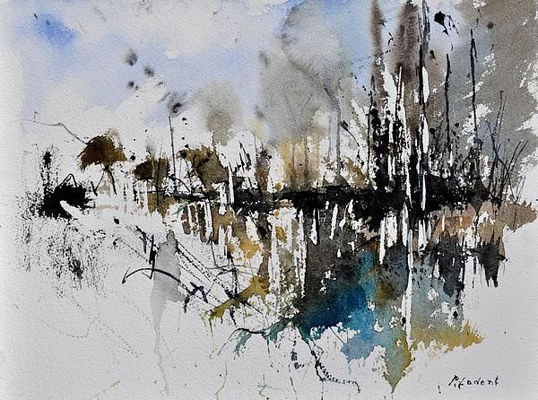 warercolor christmas cards   Abstract Watercolor 012130 Greeting Card by Pol Ledent