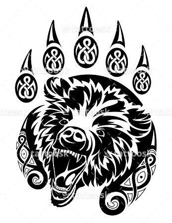 Sbink Bear Paw Tattoo with Animal Head ❥❥❥ https://tattoosk.com/bear-paw-tattoo
