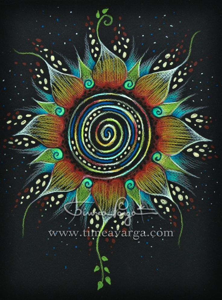 COSMIC FLOWER MANDALA III by Timea Varga #floral #mandala #art