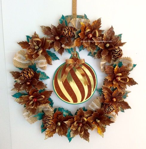 MDF Bauble created by Lisa B for Imagination Crafts. Hochanda ODS Aug 27/28. Rusty Patina, Starlights, Art Stamps, Large Bauble stencil, Tim Holtz Tattered Poinsettia die.