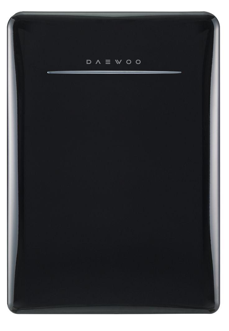 Daewoo Retro Compact Refrigerator 2.8 Cu Ft, Piano Black