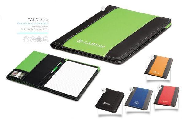 Shangrila A4 Folder FOLD-2014 SHANGRILA A4 FOLDER simulated leather 31.8(l) x 24.6(w) x 1.6(h) pocket business card / ID holder pen loop writing pad included