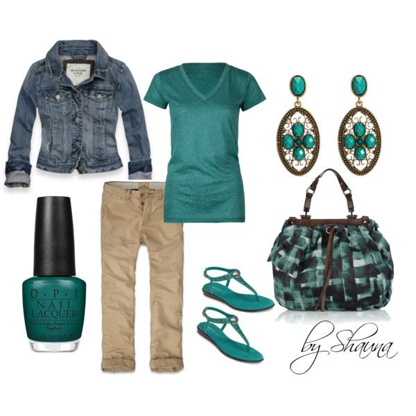casual Friday, created by shauna-rogers: Teal Outfit, Style, Favorite Color, Spring Summer, Jean Jackets, Casual Fridays