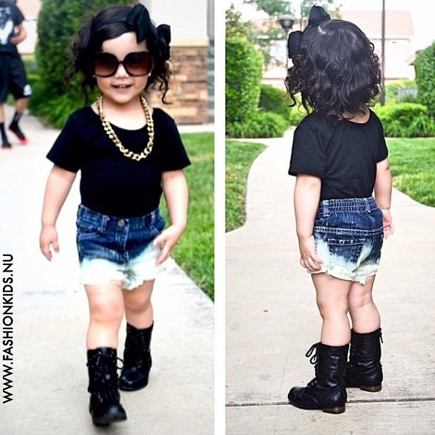 #kids #toddler #infant #baby #girl #fashion #style #inspiration #clothes #glam #chic #swag #shoes #black #denim #shorts #boots