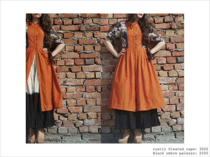 burnt orange box pleated cape, with black ombre textured palazzo #fusion #streetstyle #cotton #fashion #summerstyle https://www.facebook.com/itrbykhyati