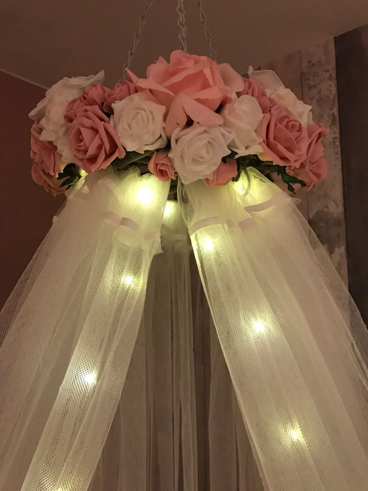 Soft Pink And White Crib Canopy With Fairy Lights Flowers