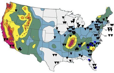 Nuclear Reactors in Earthquake Zones in the U.S. [Map]
