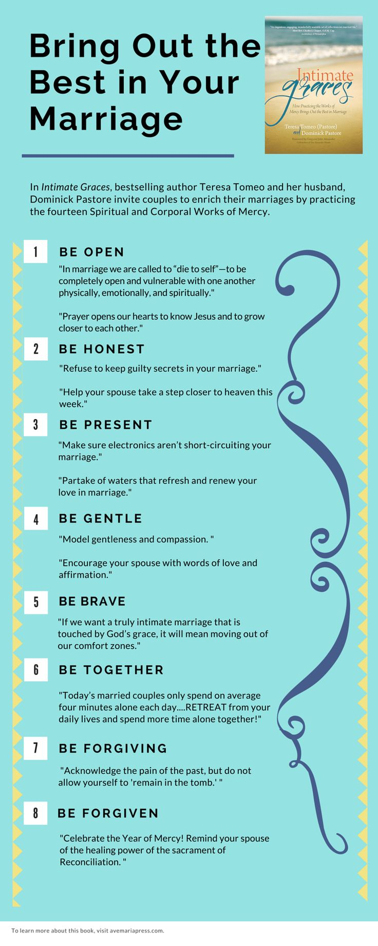 "Bring Out the Best in Your Marriage. Tips from ""Intimate Graces: How Practicing the Works of Mercy Brings Out the Best in Marriage"" by @TeresaTomeo & Deacon Dominick Pastore ( @AveMariaPress )"