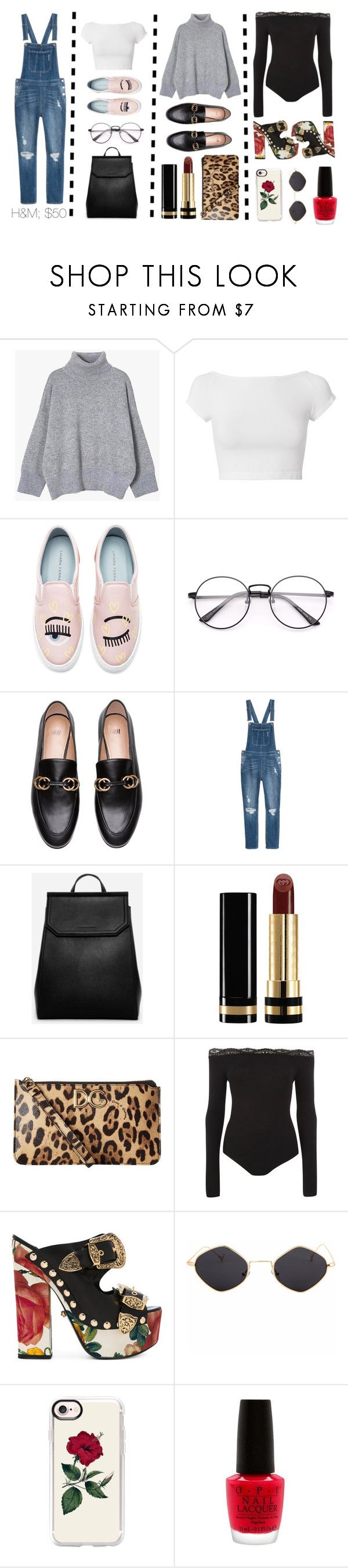 """""""#1: Three Ways To Wear Overalls"""" by sleepyaf ❤ liked on Polyvore featuring Helmut Lang, Chiara Ferragni, CHARLES & KEITH, Gucci, Dolce&Gabbana, Topshop, FAUSTO PUGLISI, Casetify and OPI"""