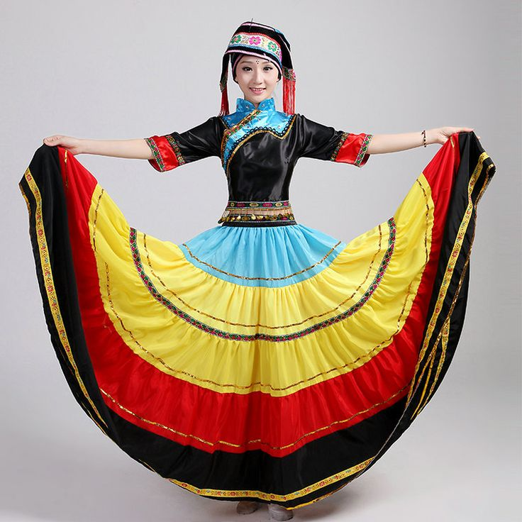 Hmong Miao dance costumes big swing Yi  Miao Dong stage  performance clothing chinese minority clothing expansion skirt set
