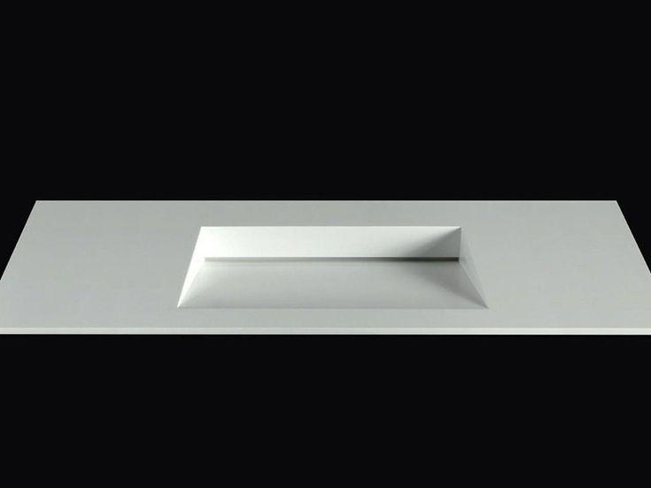 Lavabo rectangulaire en Corian® avec plan intégré PLANO WB10 by RIFRA