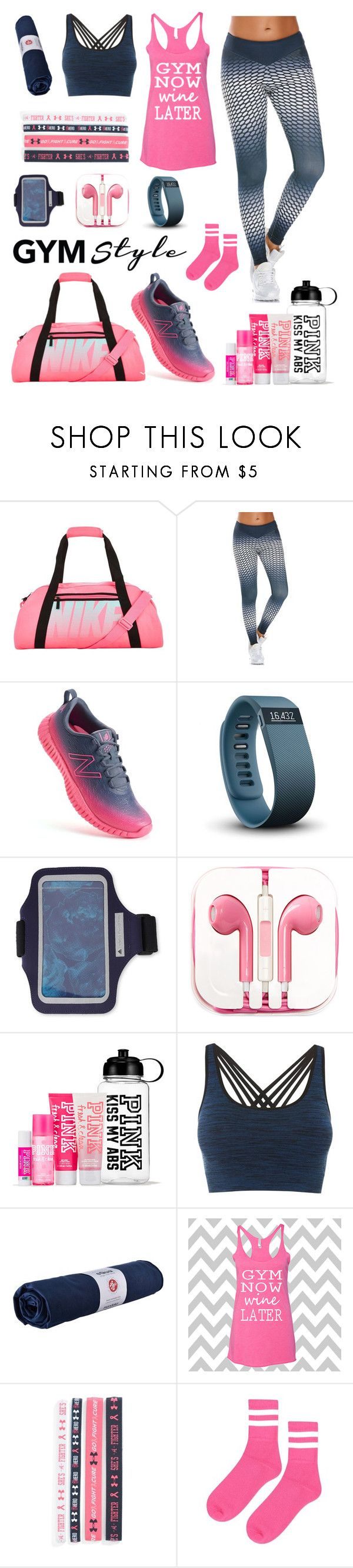 """""""Gym Bunny"""" by nrspinks ❤ liked on Polyvore featuring NIKE, New Balance, Fitbit, adidas, PhunkeeTree, Pepper & Mayne, Manduka, Under Armour and Topshop"""