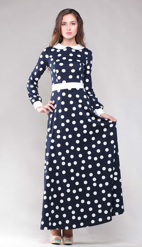 Polka dot dress. Peter Pan collar. Dress  floor. Jersey maxi dress. Maxi dress.. Long sleeve dress. Dark  blue dress. Autumn dress.