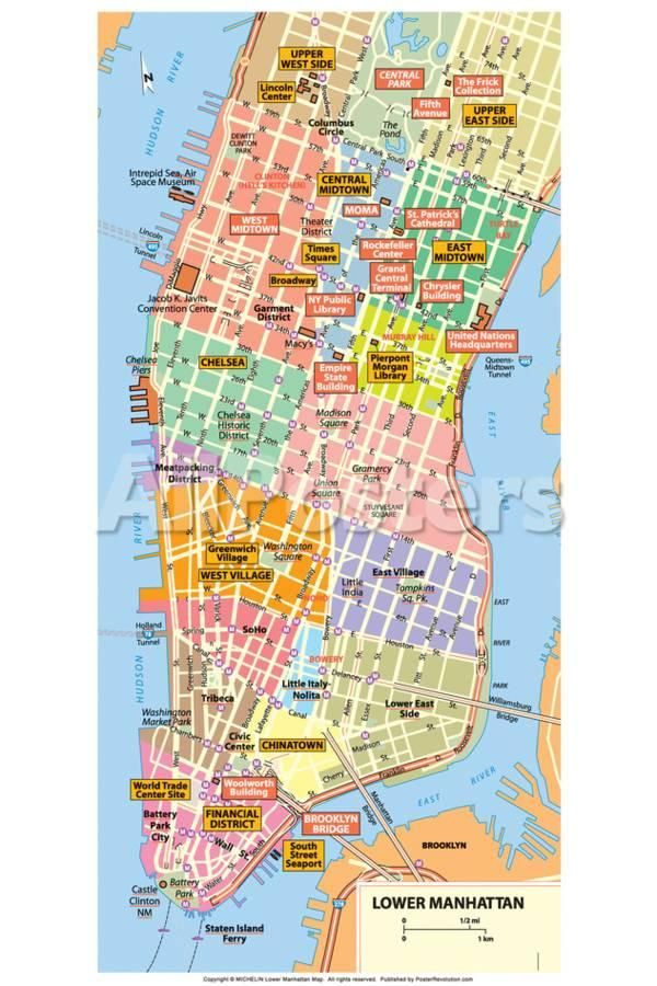 Michelin Official Lower Manhattan Nyc Map Poster Print In 2020