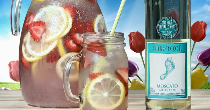 Barefoot Moscato Springtime Sipper-10 strawberries  1 lemon  1 can of pink lemonade  1 bottle of Barefoot Moscato  Layer strawberry slices, lemon slices and ice in a pitcher. Add pink lemonadeconcentrate and Barefoot Moscato. Stir to blend. Garnish with lemon wheel if desired.  Servings: 6