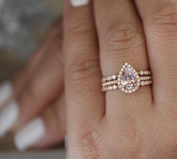 Low Cost 3pieces Morganite Pear Bridal Ring Set Diamond Ring Etsy Unique Engagement Rings Bridal Ring Sets Moonstone Engagement Ring