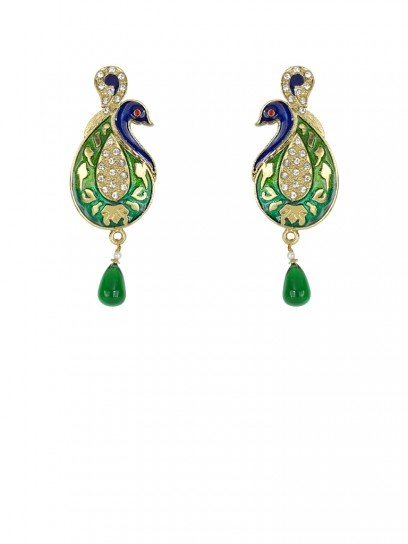 Indian Jewellery - Golden Peacock Earring with White Stones - JWER4037