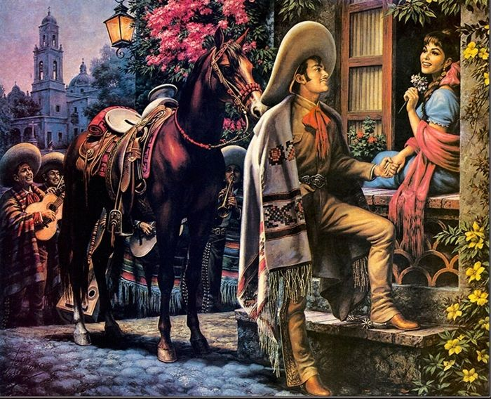 A beautiful horse. The proportions of a horse, standing at that angle, must be difficult to render. The evening lighting, the mariachis, the expressions, of the lovers...One of my favorites from Jesus Helguera.