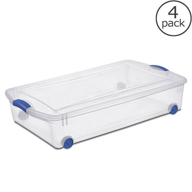 Sterilite Plastic Underbed Storage Stackable Bins With Blue Latching Handles 50 Quarts Clear Wheeled Organizers By