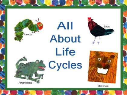 """Life Cycles - Interactive notebook lesson about animal life cycles. Lesson includes mammals, insects, amphibians, and birds. Using """"The Very Hungry Caterpillar"""" students are introduced to the life of insects and even Kermit the Frog helps them learn the frog's life cycle. Also includes videos and songs.  Resource type:SMART Notebook lesson  Subject: Science  Grade: Kindergarten, Grade 1, Grade 2, Grade 3"""