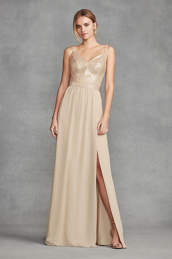 cda8ef282f Sequin Bodice Champagne Bridesmaid Dress with Chiffon Skirt by WHITE by Vera  Wang available at David s Bridal