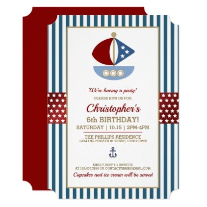 Stars and Stripes Nautical Birthday Party Card - party gifts gift ideas diy customize