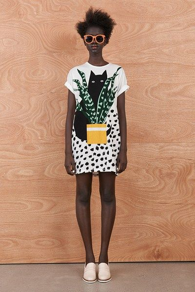 Hiding Cat T-Shirt Dress at Karen Walker $185.00 #fashion #print