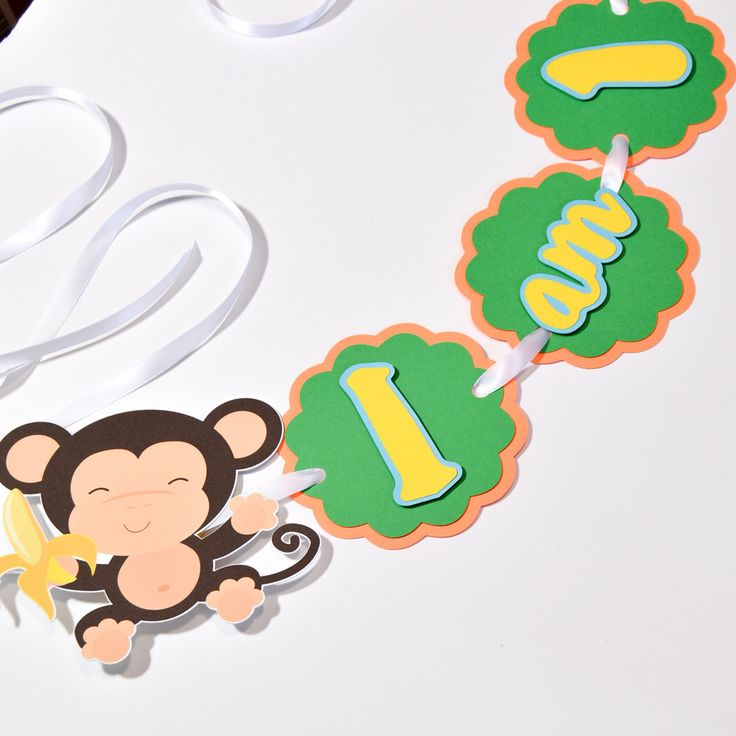 Highchair Banner, Monkey Party Decorations, Monkey Birthday Party, Custom Party Banners, Monkey Party Supplies by ArtPaperWonders on Etsy