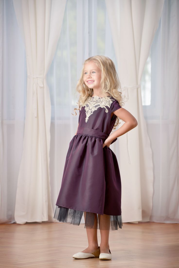 Designers for kids tafetta and lace dress styled by Rhea Costa for children fashion
