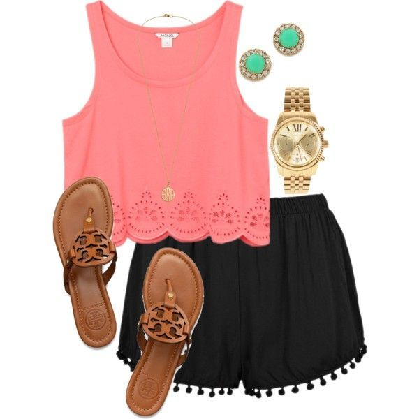 Pink Top and Black Shorts for Summer