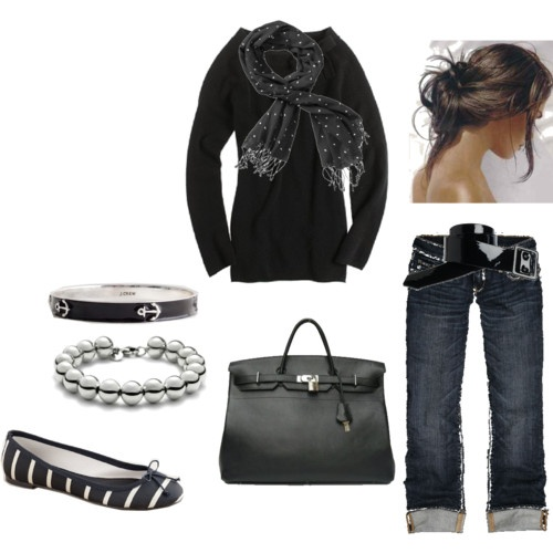 Love it: Anchors Bracelets, Black Tees, Dreams Closet, Coach Shoes Outfits, Clothing, Cute Outfits, Casual, Black Jeans, My Style
