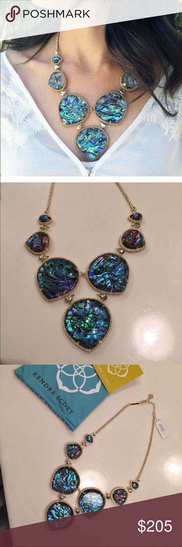New w/tags! Kendra Scott Rebecca Abalone Necklace New w/tags! Kendra Scott Rebecca Abalone Necklace. No trades. Style: Statement; Metal: 14k Gold Plated over Brass Stone/Color:  Abalone Shell; Some stones are more purple and blue and others more green and yellow; Each stone is unique. Closure Type:  Lobster Claw Measurements: Approximate  Overall length is 18 inches with 2 inch extender; Largest stone is 1.94 inches. Comes in a Kendra Scott dust bag with care card. Kendra Scott Jewelry…