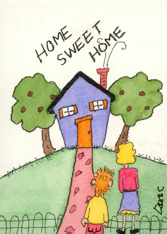 Funny House Painting Handcrafted Original Happy Home Sweet Home