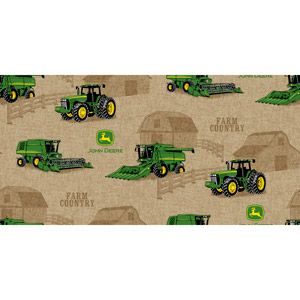 Springs Creative John Deere Tractor Scenic Fabric by the Yard