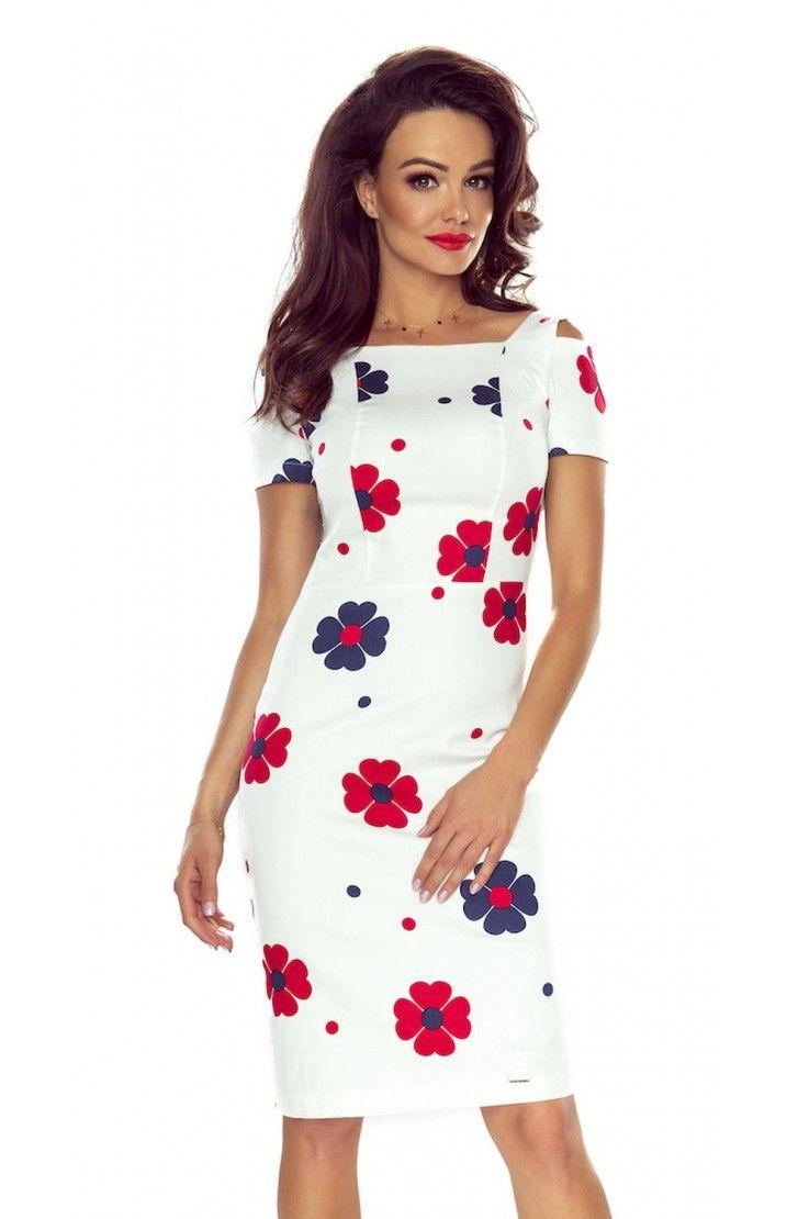 Sukienka z Pęknięciem na Ramieniu Biała BE85-06