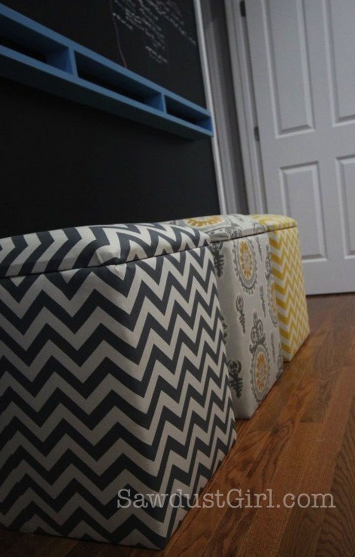 Instantly create more storage space with DIY upholstered storage benches.