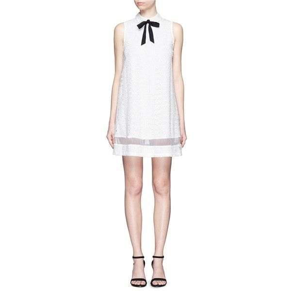 Alice + Olivia 'Irena' organdy trim guipure lace shirt dress ($540) ❤ liked on Polyvore featuring dresses, white, collared shirt dress, shirt dress, white shift dress, white sheer dress and white shirt dress