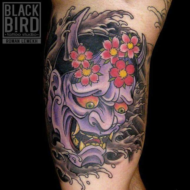Japanse demoon japanese demon violet tattoo tattooed ink inked cherry flowers asiatique