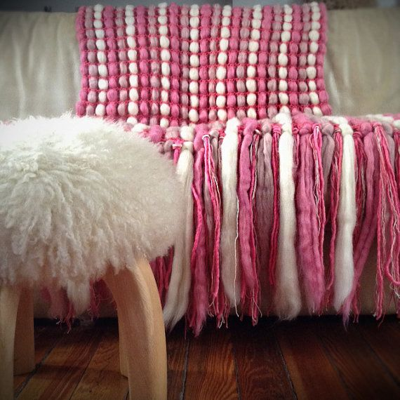 Pink Chunky Blanket, Pink Wool Blanket, Chunky Knit Throw, Pure Wool Throw…