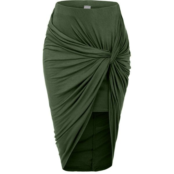 LE3NO Womens Asymmetrical Banded Waist Wrap Cut Out Hi Low Skirt ($17) ❤ liked on Polyvore featuring skirts, long green skirt, wrap maxi skirt, sexy skirt, long summer skirts and high low maxi skirt