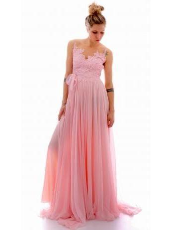 Rhea Costa - Long salmon pink gown