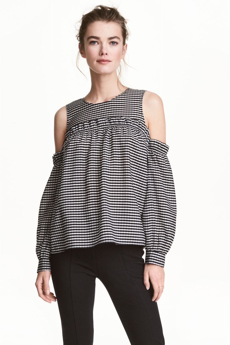 Blouse à carreaux à épaules ajourées, H&M - Épaules ajourées: comment porter la tendance - Shopping