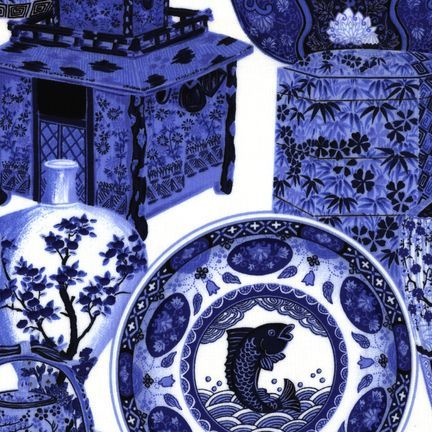 Robert Kaufman Fabrics: EV-2763-6 WHT/BLU from Oriental Traditions Original Collection