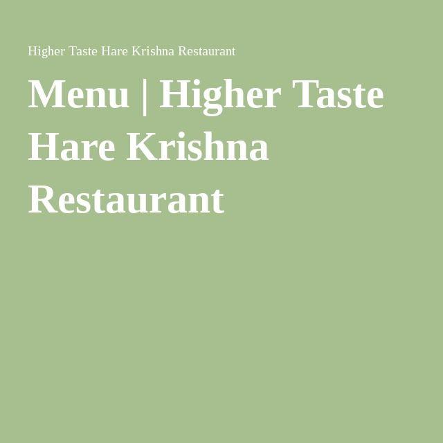 Menu | Higher Taste Hare Krishna Restaurant