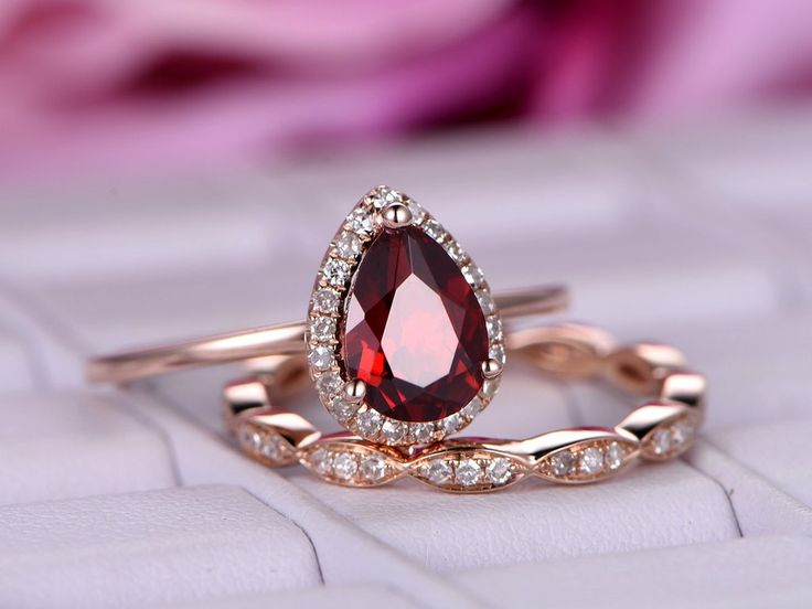 Pear Garnet Engagement Ring Sets Pave Diamond Wedding 14K Rose Gold 6x8mm