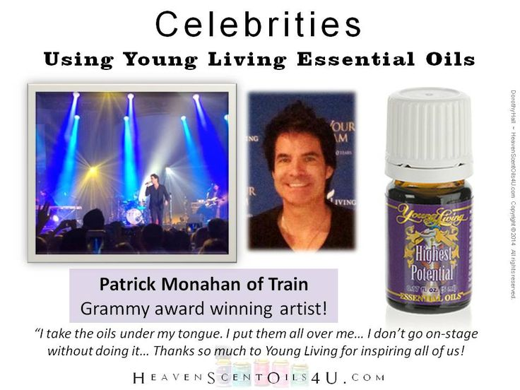 Patrick Monahan of the musical group TRAIN uses Young Living essential oils. Begin your journey into the world of essential oils. www.youngliving.org/nlfinck