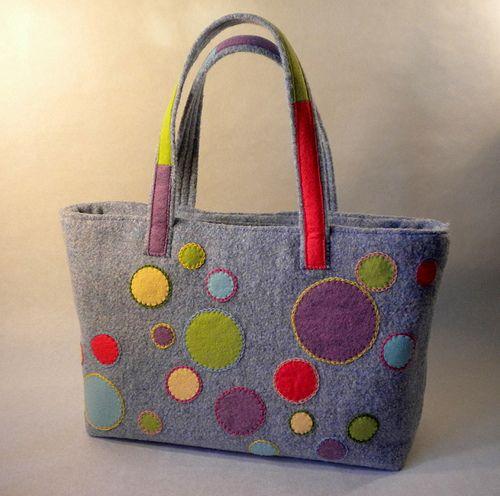 Colorful Dots Applique Tote Hand Bag