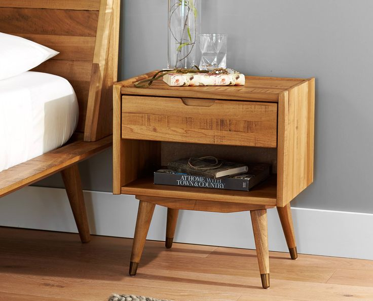 Scandinavian Designs - Crafted from solid poplar with a natural stain, the Bolig nightstand features a single drawer above an open niche for easy bedside organization. This Nordic look offers clean lines with a low profile and mid-century style tapered legs. Sorry, not available in our Colorado stores.